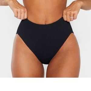 Black Crinkle High Waist Bikini Bottom